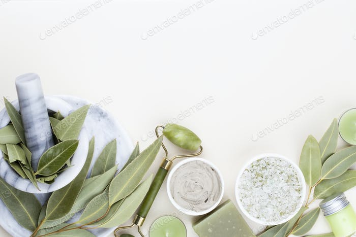 Spa homemade skin care and body cosmetics with natural ingredients.