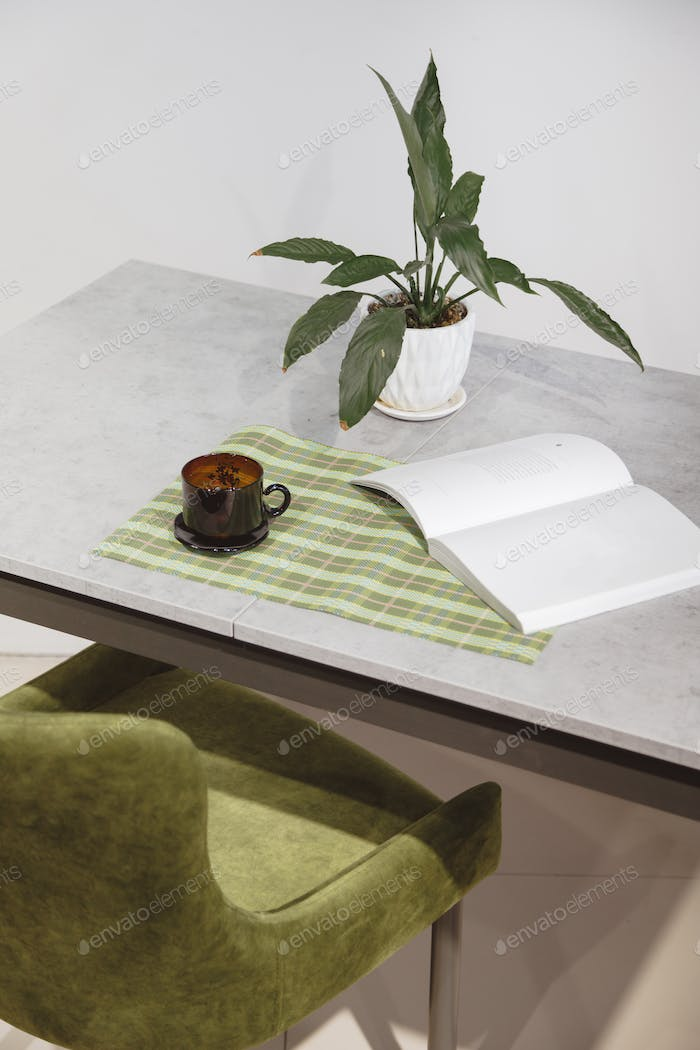 Modern minimalist workplace. Green velours armchair and loft table with home plant in white pot