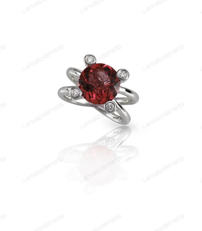 Red Ruby center stone diamond engagement wedding fashionring