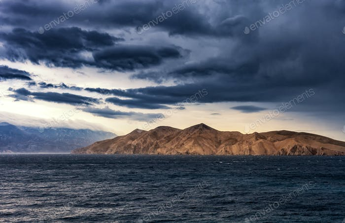 Stormy seascape landscape, Adratic sea during Bora wind