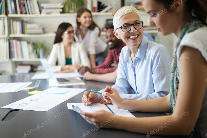 Business people good teamwork in office. Teamwork successful meeting workplace concept.