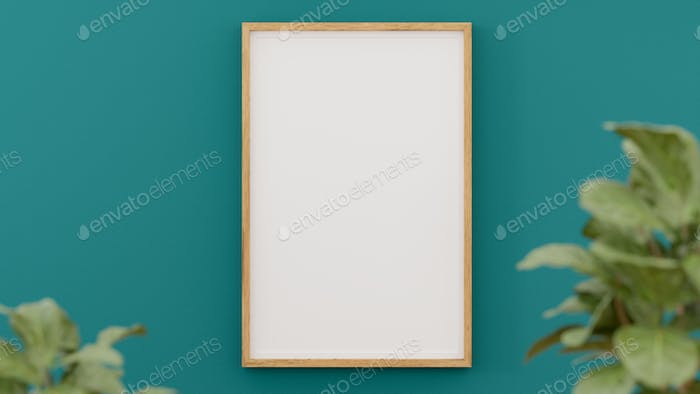A blank picture and poster frame on the wall