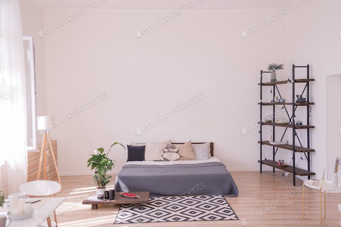White loft bedroom interior with posters