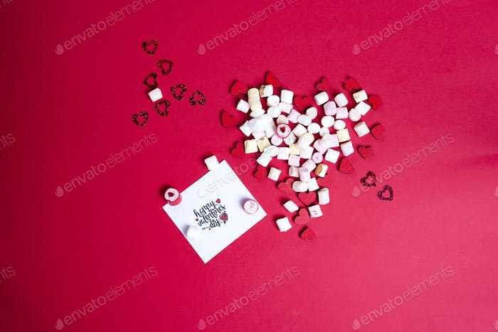 Valentine's Day with wooden hearts and marshmallow