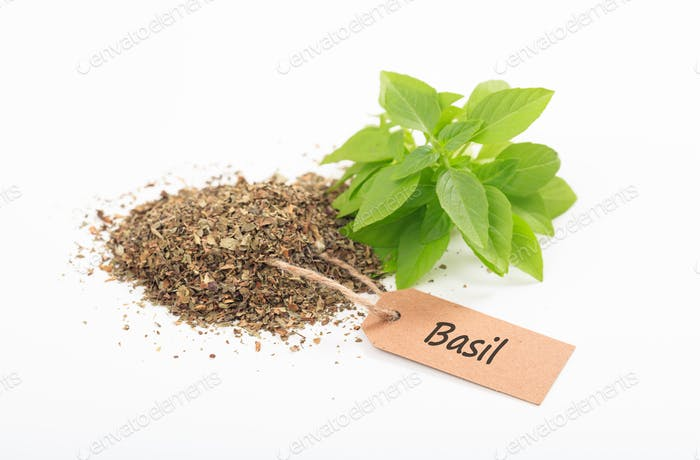 Basil fresh and dried on white background