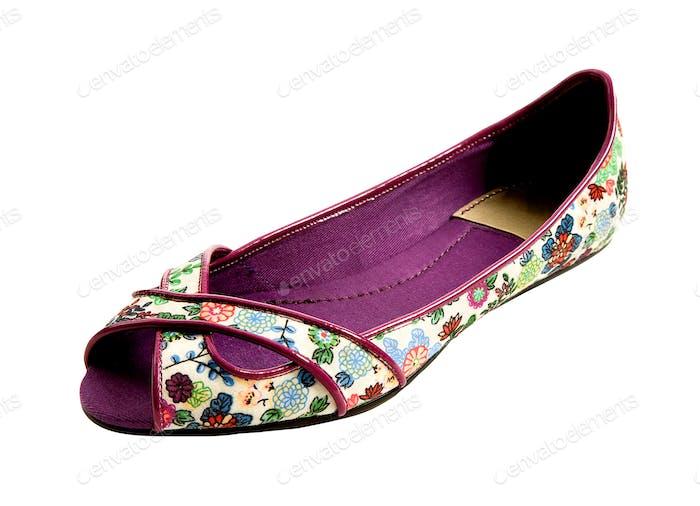 Peep toe flowers print flat ballerinas