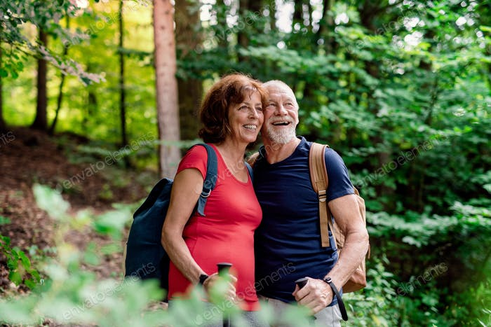 Senior tourist couple with backpacks on a walk in forest in nature.