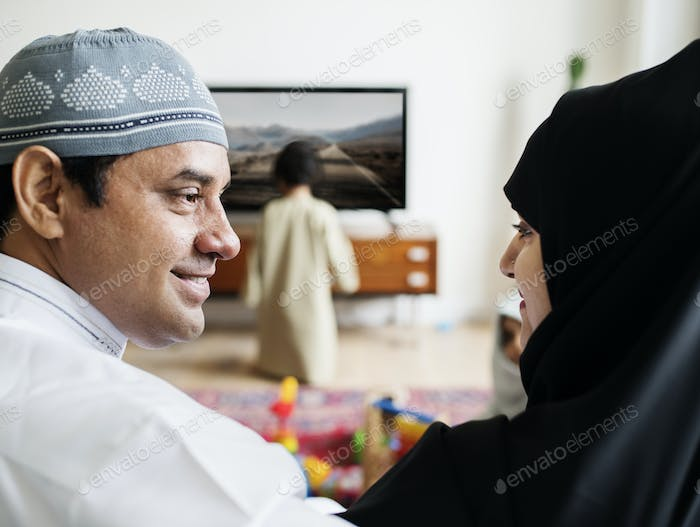 Thumbnail for Muslim family relaxing in the home