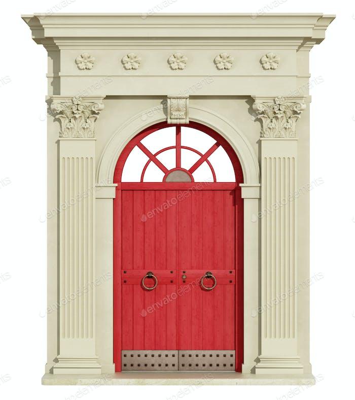 Vorderansicht eines klassischen Bogens mit roter Tür