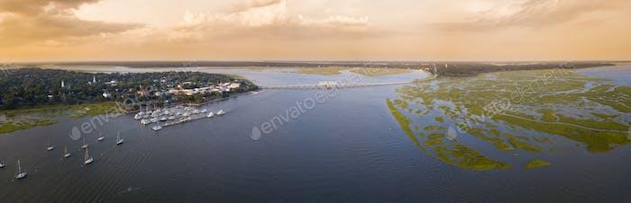 180 degree aerial panorama of Beaufort, South Carolina at sunset.