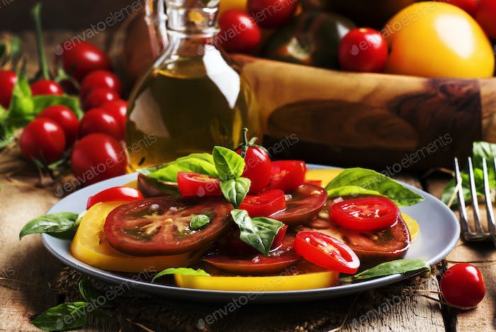 Salad of colorful tomatoes