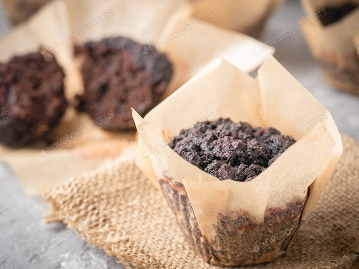 chocolate muffins with beetroot close-up