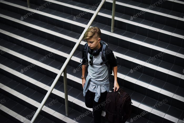 Young caucasian man waking down the stairs with luggage