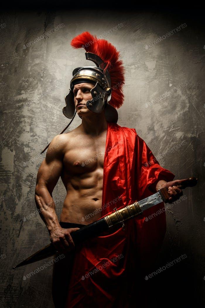The Roman in an armor.