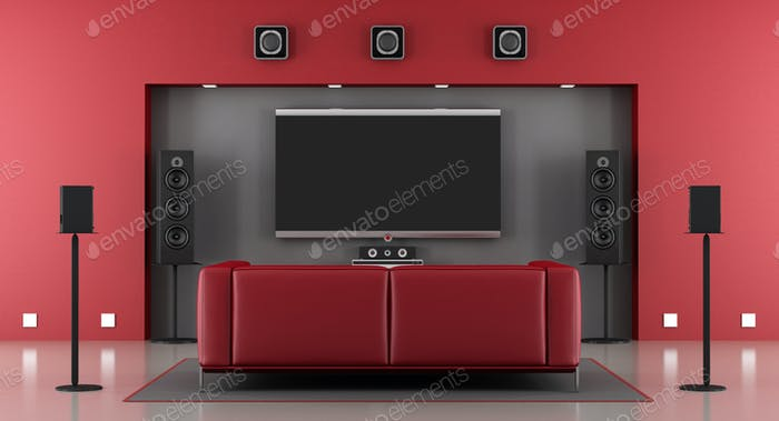 Red and gray home cinema