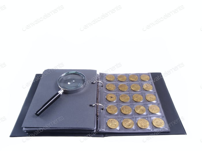 Album With Coins Isolated