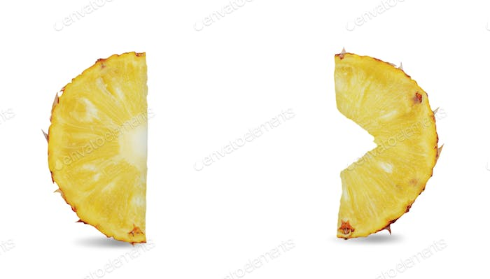 Pineapple slices with isolated background