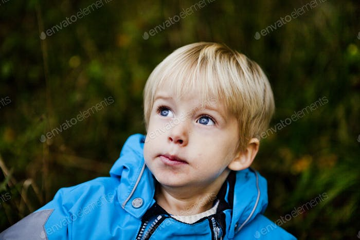 Thoughtful cute boy looking away in forest