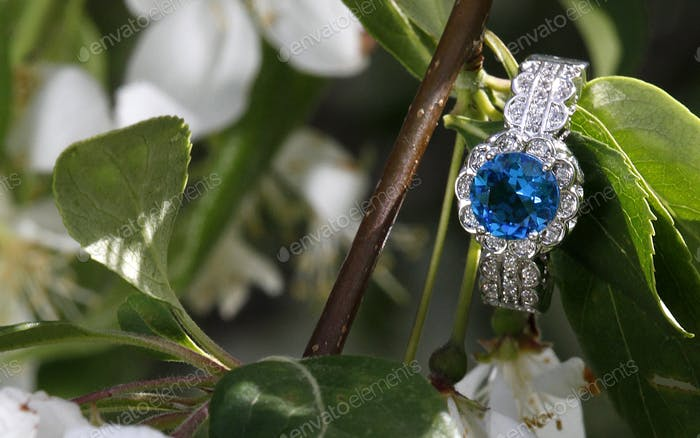 Blue topaz diamond engagement wedding ring