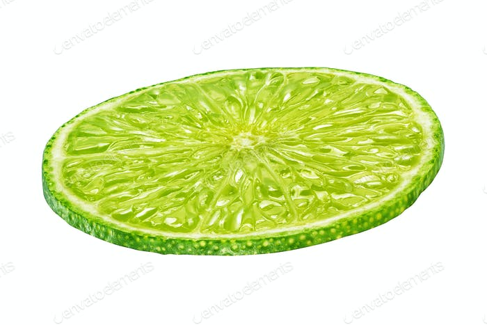Round slice of lime isolated on white background
