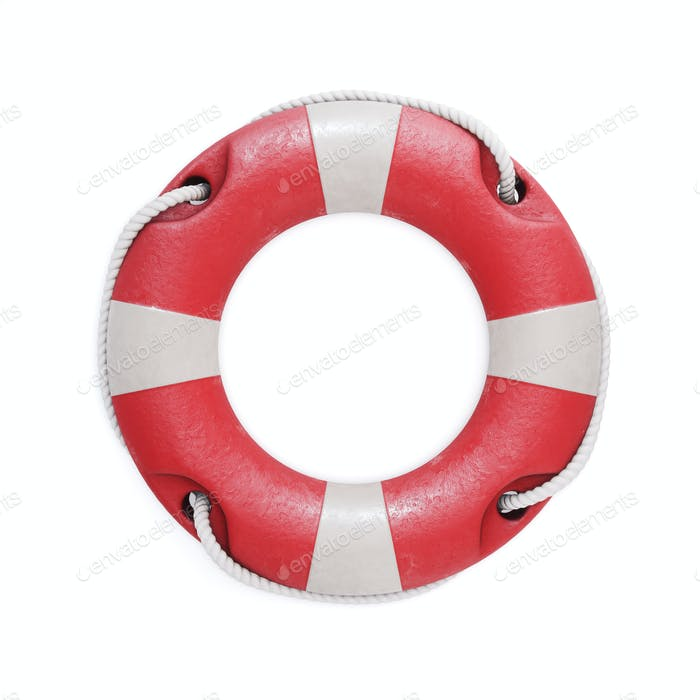 Old red lifebuoy isolated on a white background. 3d illustration