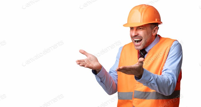 Angry Builder Man Shouting Looking Aside Over White Background, Panorama