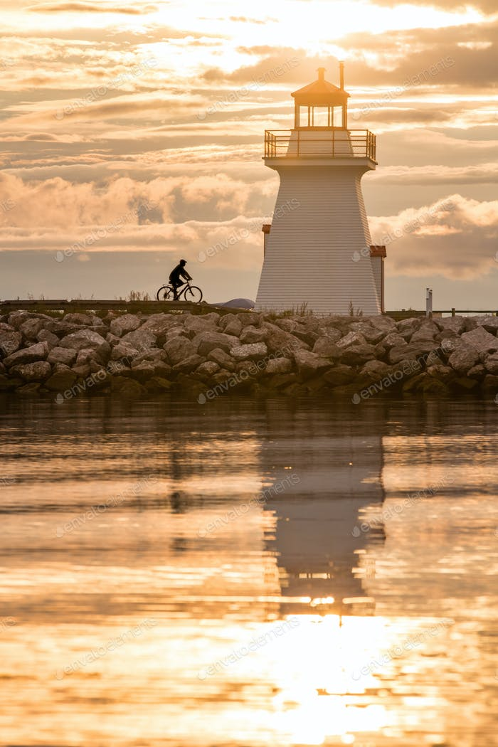 Backlit Lighthouse in Gaspe Peninsula