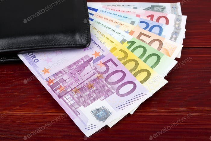 European money in the black wallet