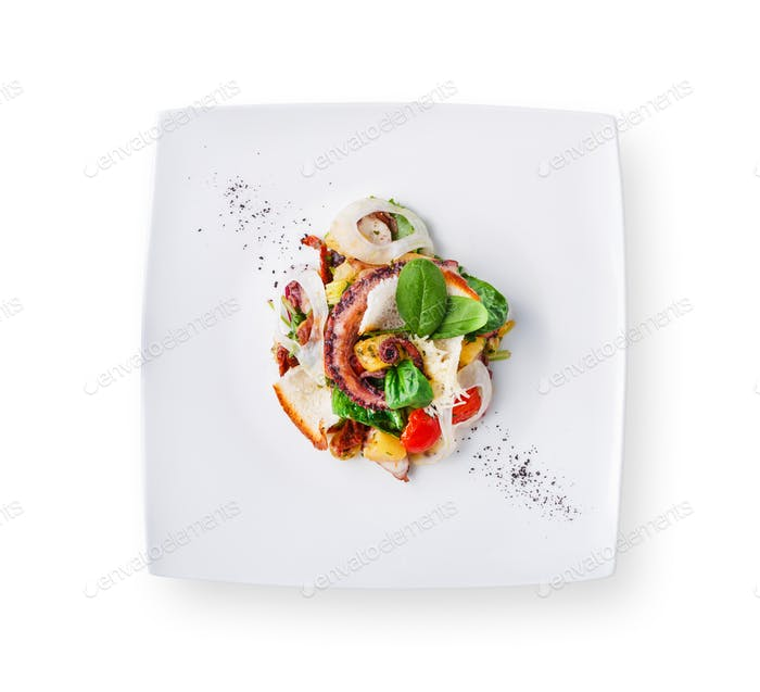 Salad with octopus and vegetables isolated