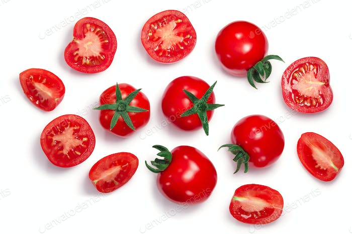 Middle globe tomatoes, top, paths