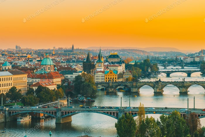 Prague, Czech Republic. Evening Cityscape In Sunset Time. Charle