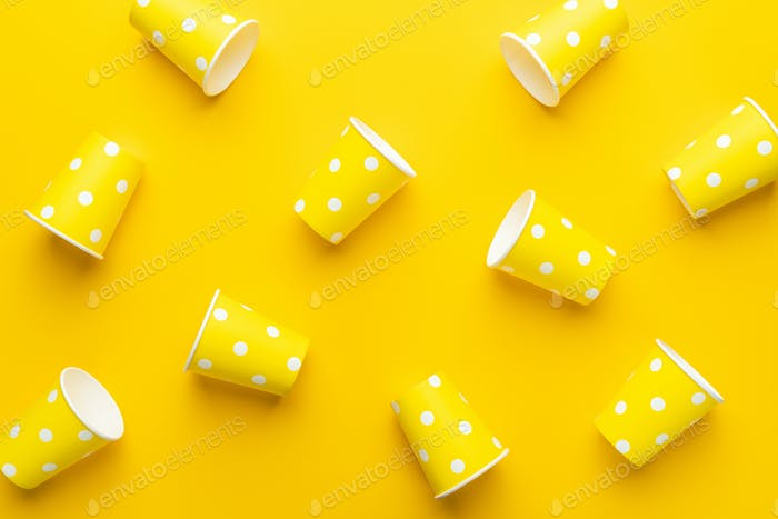 Yellow Paper Cups On The Table