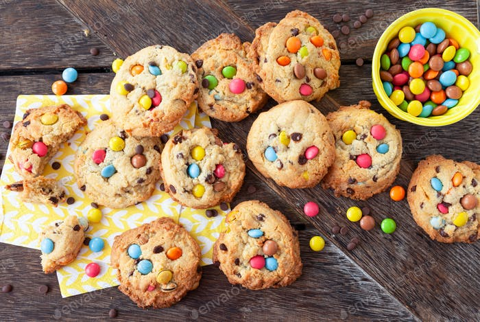Homemade cookies with colorful chocolate lentils