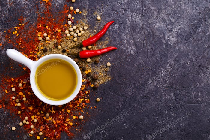 Herbs, oil and spices