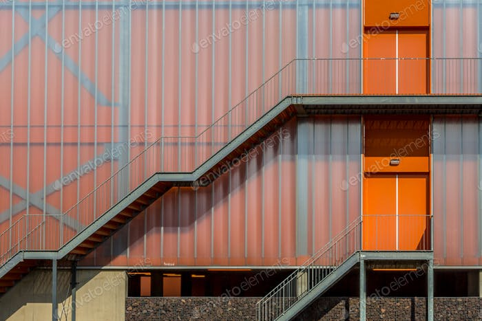 Modern colorful orange facade