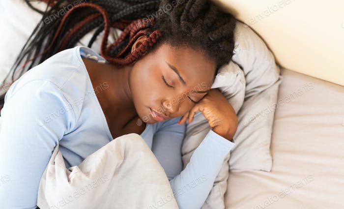 Asleep Afro Lady Taking Rest Lying In Bed At Home