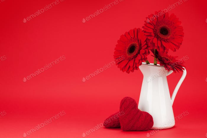 Valentines day card with gerbera flowers
