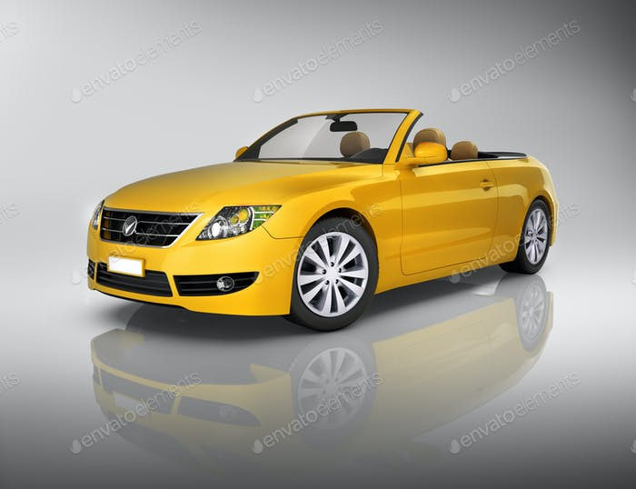 Studio Shot Of Three-Dimensional Yellow Convertible