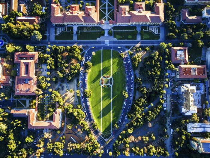 The Oval, aerial view of the open space in the middle of Stanford University Campus at Palo Alto.