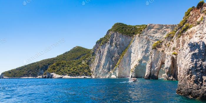 View of  Keri blue caves  in Zakynthos (Zante) island, in Greece