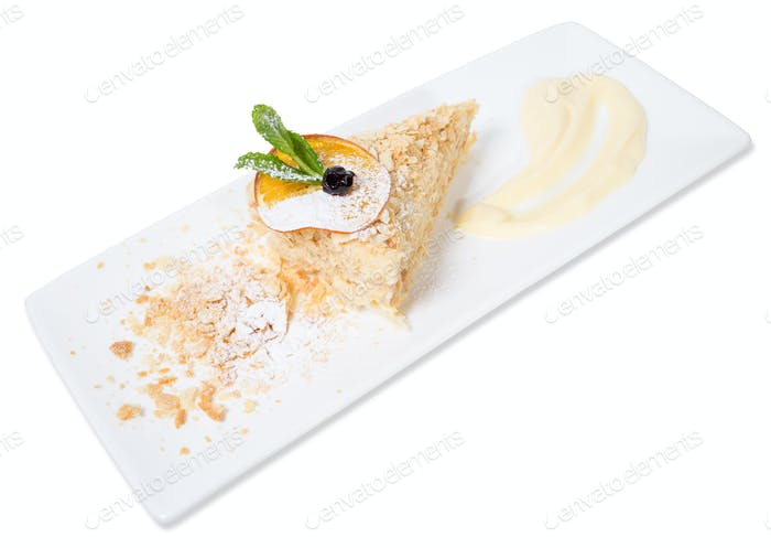 Delicious custard cake with orange.