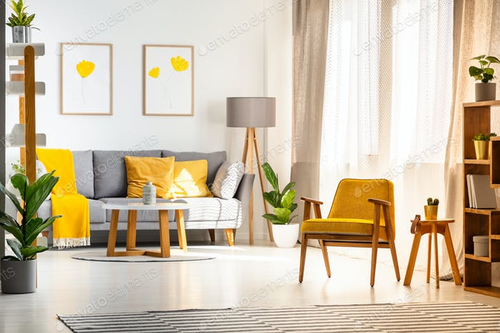 Yellow Wooden Armchair In Bright Living Room Interior With Poste Inspiration Bright Living Room Interior
