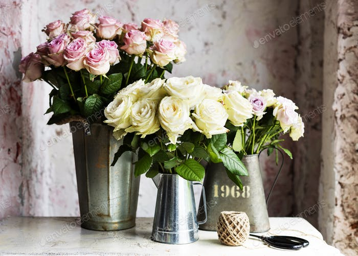 Fresh Pink and White Roses Flowers Arrangement in Metal Bucket