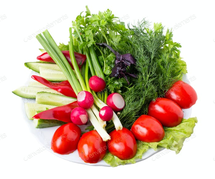 Mixed fresh vegetables.