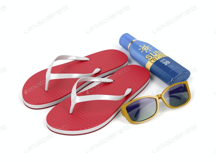 Flip flops, sunscreen and sunglasses