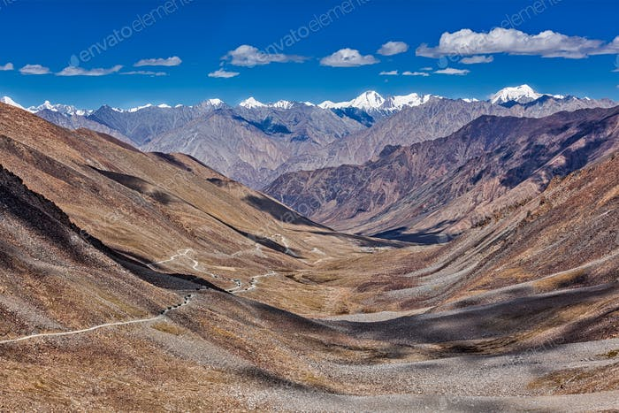 Karakorum Range and road in valley, Ladakh, India