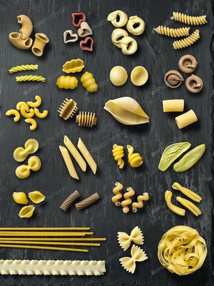 Large selection of pasta types