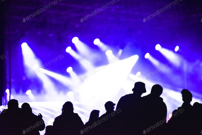 Cheerful crowd partying at a concert. Silhouette of friends socializing at a festival