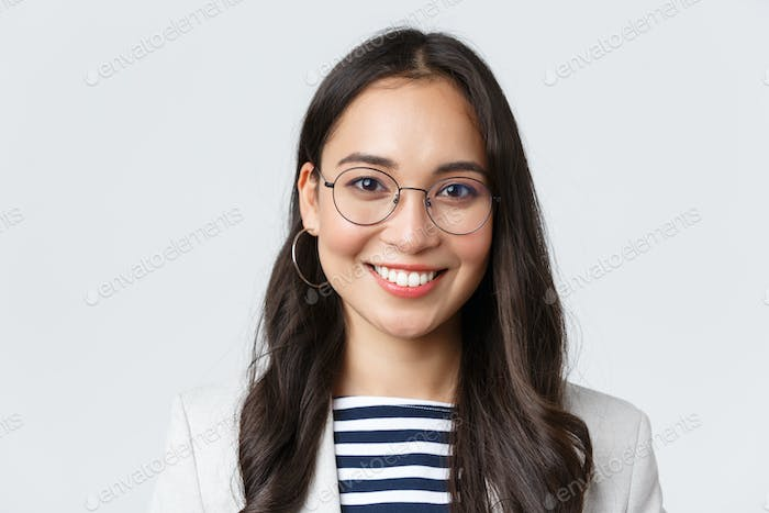 Business, finance and employment, female successful entrepreneurs concept. Close-up of smiling asian