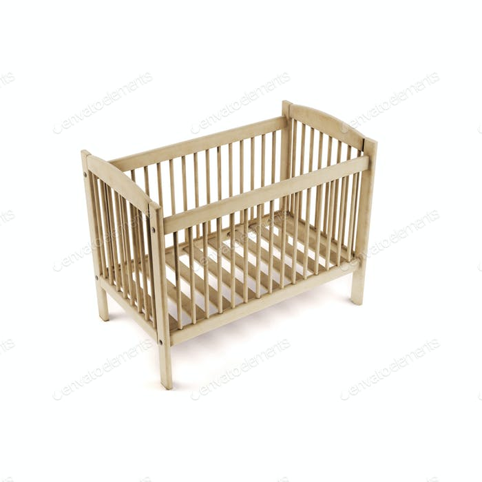 Wooden bed isolated on white background. 3d rendering.